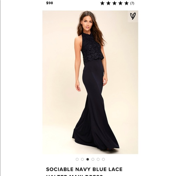 4c9f54865af4 Lulu s Dresses   Skirts - Lulus Sociable Navy Blue Lace Halter Maxi Dress